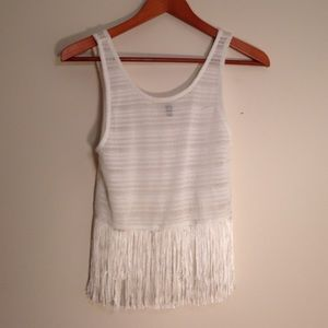 DIVIDED Crochet Crop Top with Fringe